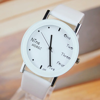 2014 Promotion Sale Watches Students Simple English Word Pointer Watches Couple Lmitation Leather Strap Fashion Gift For Lover
