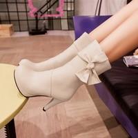 new 2014 women mid calf boots autumn platform pumps high heels boots winter martin shoes woman fashion leather black brown beige