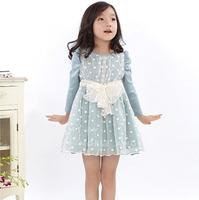New High Quality Children Dot Bow Fall Dresses , Princess Elegant Lady Dress,  Wholesale 5 pcs/lot, Free Shipping