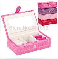 Elegent Luxury PU Leather jewelry display casket / jewelry organizer mini earrings ring box /case for jewlery gift box jewerly