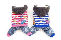 Pink Blue Small Cars Stripes Pet Clothing Dog Winter Coat Warm Jumpsuit Tracksuit  Large Dog Clothes Apparel S-XXL Free Shipping