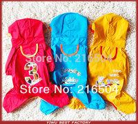 New Arrival 2014 Pet Dog Raincoat 1 Piece On sale Waterproof Rain Coat for Pet Dog clothes 3 Colors 6 Sizes Cartoon printed