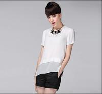 New 2014 women summer chiffon render blouse short-sleeve solid shirts fashion ladies sheer white blouse plus size loose S-XL