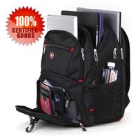 "Swiss Gear 15"" Black wearproof high-capacity with handle Travel business Laptop Sponge straps Backpack"