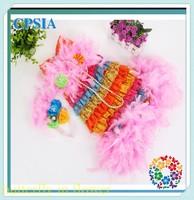 Free shipping 12set/lot Lovely Petti Rainbow ruffle clothing boutique baby girl lace dress birthday dress