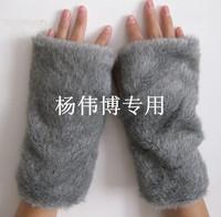 Korean fingerless woolen grey fur gloves winter mittens girl's gft  FREE SHIPPING
