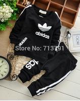Free shipping retail boys/girls Sport suit set long sleeve Pure cotton children tracksuit sets 2 pcs/set outerwear clothing