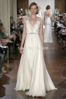 Free shipping Elegant Beaded Celebrity Dresses 2014 V-Neck Party Gowns Cap Sleeve vestidos de colores SH209
