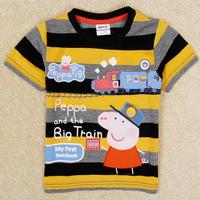 Retail 2014 New kids cartoon Peppa Pig t-shirt boys short sleeve cotton tees tops children frozen summer t shirts outwear C4451