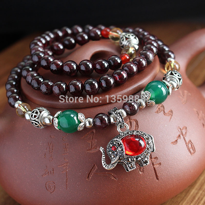 RiceChen Natural wine red garnet bracelets retro original multi-turn Tibet silver