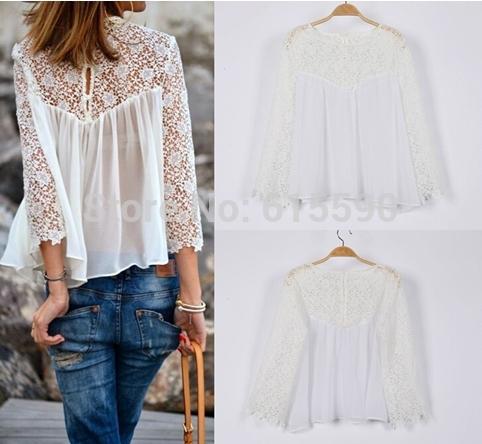 frete grátis novo 2014 primavera verão mulheres blusas moda casual camisas de renda chiffon blusas brancas tops de renda y2323#(China (Mainland))
