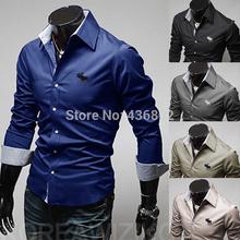 O envio gratuito de 2014 de noite vestido de camisas de manga comprida Camisa Masculina Social preparada fino para marca masculina macho(China (Mainland))