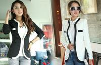 6418 2014 autumn black and white fashion slim suit jacket