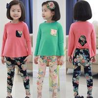 New fashion spring  autumn print girls clothing sets baby girs long-sleeve T-shirt legging set  girls casual sets