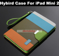 Wholesale Tablet Hybrid Leather Wallet Case Flip Pouch Stand Cover For iPad Mini 2 150PCS/lot