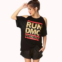Fashion richcoco normic run dmc bronzier loose letter print strapless short-sleeve round neck T-shirt d528