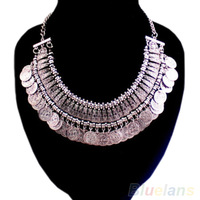 Women's Fashion Silver Coins Pendant Statement Bib Chunky Charm Choker Necklace statement Necklaces
