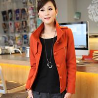 6297 2013 autumn and winter slim stand collar woolen coat