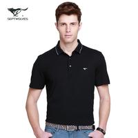 For SEPTWOLVES turn-down collar short-sleeve t-shirt summer new arrival male fashion turn-down collar mercerized cotton short t