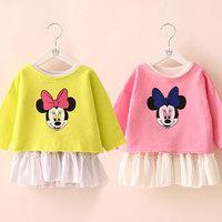 New fashion baby girls cartoon clothing sets kids girls long -sleeve t-shirt dress set girls princess skirt children sets
