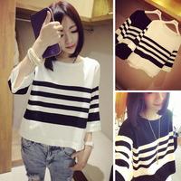 Hot Sale summer dress 2014 t shirt women's t-shirt Half Sleeve fashion women tees Cotton stripe navy style O-neck tops D25