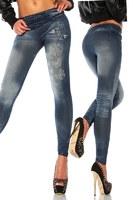 New Women Sexy Tattoo Jean Look Legging Sport Leggins Punk Fitness American Apparel Jeans Woman Pants 9054