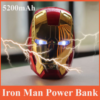 Free Shipping External 5200mah Iron Man Power Bank Cartoon Power Battery For iPhone Samsung HTC Hot Selling