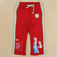 Retail Free shipping Nova Brand 2014 Frozen Elsa and Olaf girls leggings long pants trousers children loose straight pants G5548