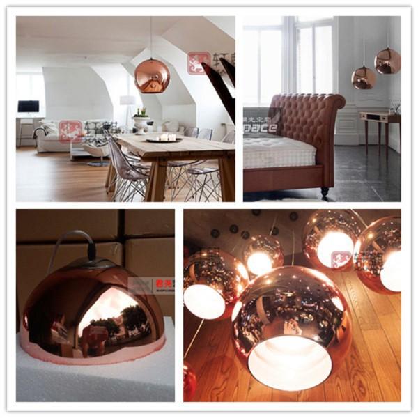 Modern Pendant Lights Tom Dixon copper Lampshade Mirror Ball Lamps Hanging Bulbs e27 lustres e pendentes Dia 11.8
