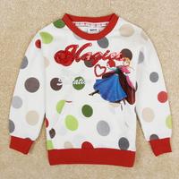 Retail Nova free shipping summer Frozen print children cotton t shirt girl o neck long sleeve outwear T-shirt top tees F5538