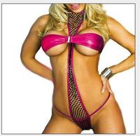 Women's  Sexy Rose Red Lingerie Three -point Halter Corest Underwear