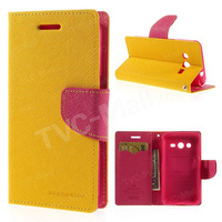 Yellow Mercury Fancy Diary Wallet Leather Flip Cover Mobile Phone Bags Cases For Samsung Galaxy Core 2 G355h Case Free Shipping