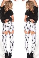 New Women Sexy White  Suspender Clip  Cross Print Gothic Rock Legging Punk Fitness  Woman Pants  173