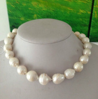 "HUGE 18""15-18MM NATURAL SOUTH SEA GENUINE white REDISH PEARL NECKLACE"