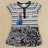 Retail 1/pc Free Shipping Nova Frozen Dress Elsa&Anna Summer Dress for Girl Dress Brand Kids Petticoat children Clothing H5229