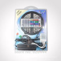Free Shipping 5m/roll SMD 5050 RGB Waterproof 300 LED Flexible 120degrees Led Light Strip + 44key IR Remote+5A Power Supply