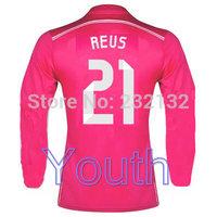 Youth 14/15 Real Madrid 21 Marco Reus Long Away Jerseys Pink shirt 2014/2015 Cheap Kids Soccer Uniforms Football kit Top Quality