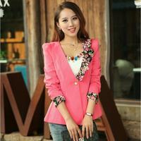 6413 2014 autumn flower dovetail ruffle collar slim small suit jacket