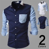 New Autumn 2014 Men'S Casual Long-Sleeved Shirts Men'S Fashion Stitching Fashion Dress Shirts Men'S Dress Shirts XG50-230