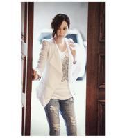 6265 2014 autumn women's slim suit blazer cotton short jacket