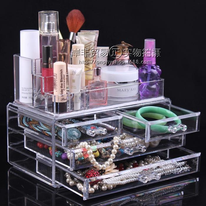 2014 12l New Boxes Organizer Real Round Storage Box Organizador Large Transparent Cosmetic Three Drawer Desktop Jewelry Display(China (Mainland))