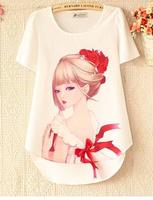 2014 New Fashion Ladies' Summer Floral Print Blouse O-neck Casual V-neck sweet Shirt Brand Tops Plus Size Blusas Femininas D20