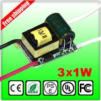 3X1W led driver transformer 1W 2W 3W lamp driver 85-265V input for E27 GU10 E14 LED lamp high quality and freeshipping