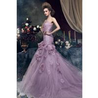 Fashionable Romantic Wedding Dress Lace Flower Purple Color Custom Made Bridal Wedding Gown Free Shipping Wedding Dresses