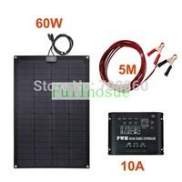 Perfect Fiberglass KIT 60W 12V Fiberglass  Semi-Flexible Solar Panel & 5m cable &10A 12V 120W solar controller!