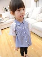 5pieces/lot, Summer Striped Hollow Splicing Baby Girls Shirt / T Shirts For Kids Children Top Clothes, A-ka010