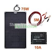 Perfect Fiberglass KIT 75W 12V Fiberglass  Semi-Flexible Solar Panel & 5m cable &10A 12V 120W solar controller!