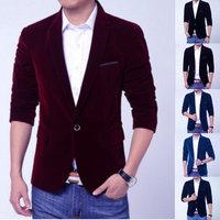 New Fashion Autumn Winter Men Slim Fit Floral Blazer Gold Velvet Male Casual Suit Outerwear Blue Black Red Jacket