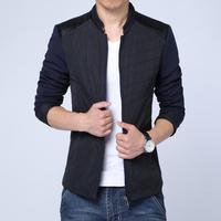 2014 new fashion men cadigan jacket outerwear, men's casual slim stand collar PU leather splicing jacket coat plus size M~XXXL
