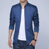 Free shipping 2014 new fashion men jacket, men's casual slim stand collar PU leather splicing jacket coat plus size M~XXXL